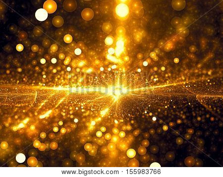 Abstract bubble bokeh - computer-generated image. Fractal geometry: chaos bright glowing gold circles like confetti. Festive backdrop for cards, posters, banners.