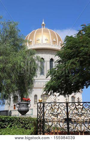 Haifa, Israel - October 30, 2016: Shrine of the Bab in Bahai World Centre in Haifa. Israel