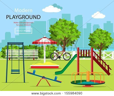 Cute graphic children playground set: swings, children's slide, carousel, sandbox, bench, bicycle, trees and city background. Kindergarten playground. Vector illustration.