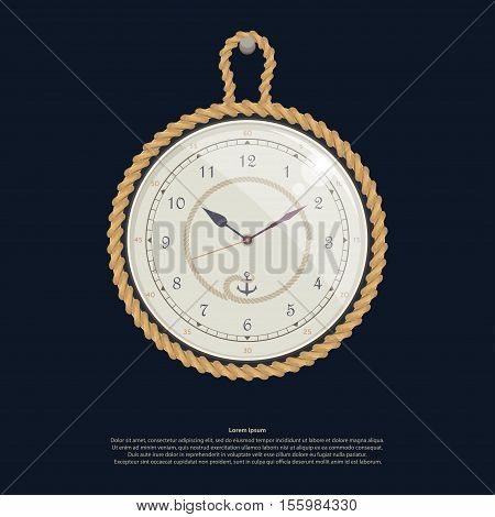 Watches rope anchor Vector illustration in flat cartoon style isolated from the background EPS 10