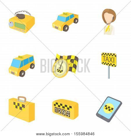 Taxi custom icons set. Cartoon illustration of 9 taxi custom vector icons for web