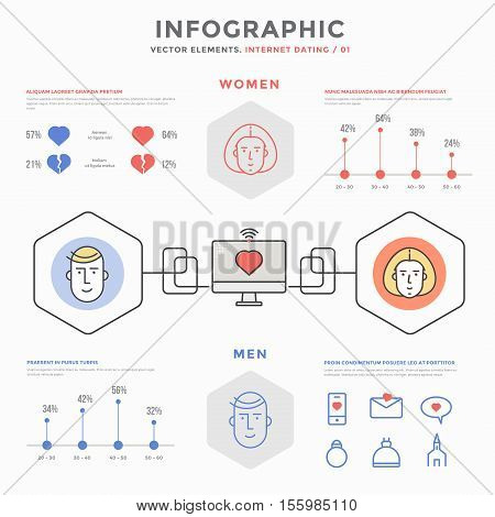 Collection infographic vector elements. Infographics Internet Dating. Virtual communication, chat, internet, dating, internet love.