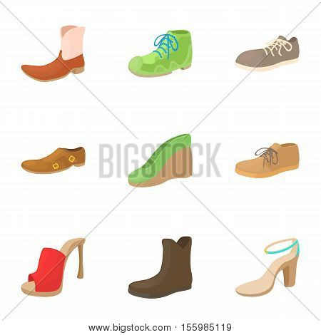 Footwear icons set. Cartoon illustration of 9 footwear vector icons for web