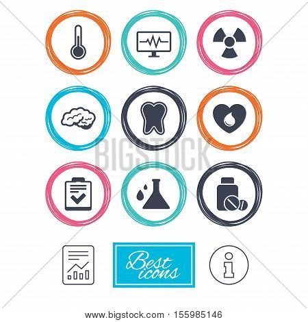 Medicine, medical health and diagnosis icons. Blood donate, thermometer and pills signs. Tooth, neurology symbols. Report document, information icons. Vector