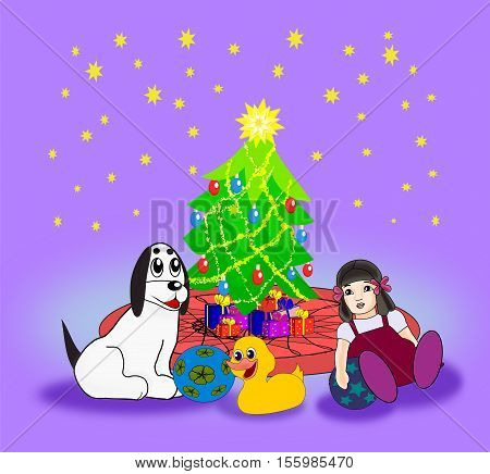 A dog and a few toys, and a Christmas tree with presents, against a starry sky