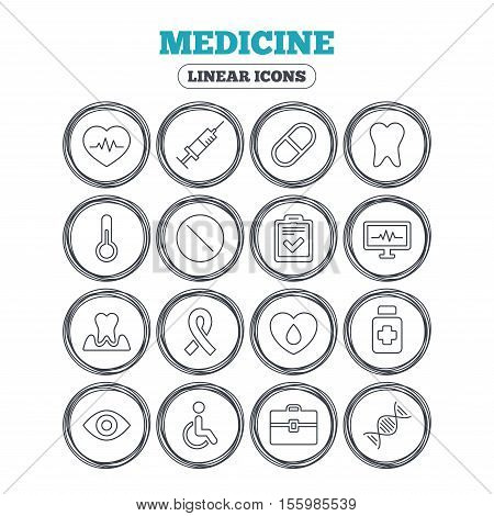 Medicine icons. Syringe, heartbeat and pills symbols. Tooth health, eye and blood donate. Awareness ribbon. Circle flat buttons with linear icons. Vector