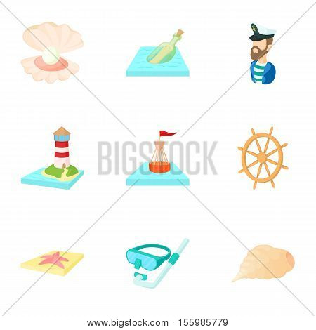 Nautical theme icons set. Cartoon illustration of 9 nautical theme vector icons for web