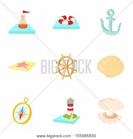 Sailor icons set. Cartoon illustration of 9 sailor vector icons for web