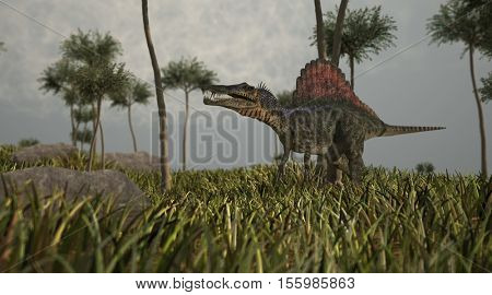 3d illustration of the walking spinosaurus dinosaur