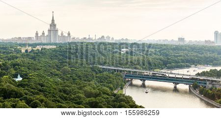 Moscow, Russia - June 20, 2016: Panorama of Sparrow Hills Moscow State University Moscow River and Luzhniki Bridge, view from above, in Moscow, Russia