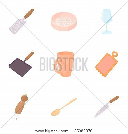 Utensils for eating icons set. Cartoon illustration of 9 utensils for eating vector icons for web