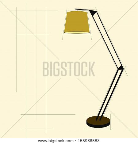 Floor lamp Vector illustration Template graphic poster with picture of the floor lamp Flat design