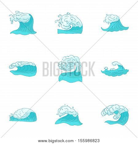 Water icons set. Cartoon illustration of 9 water vector icons for web