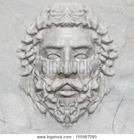 3d artwork sculpture of a greek man bas-relief face in marble texture.