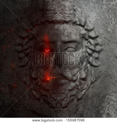 Dark horror 3d artwork sculpture of a greek man bas-relief face in marble texture with flowing fire eye.