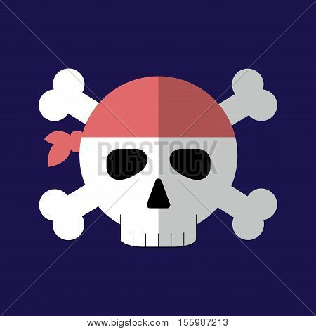 Jolly Roger Flat Icon Isolated Vector Illustration. Cartoon Pirate Symbol In Material Flat Style Des