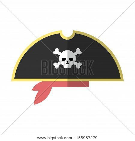 Flat Pirate Hat Icon Isolated Vector Illustration. Cartoon Symbol In Material Flat Style Design.