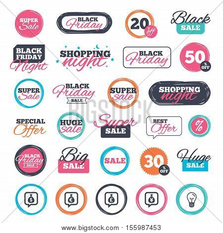 Sale shopping stickers and banners. Money bag icons. Dollar, Euro, Pound and Yen speech bubbles symbols. USD, EUR, GBP and JPY currency signs. Website badges. Black friday. Vector