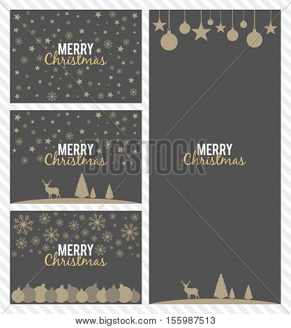 Set of Christmas cards. Postcards from the Christmas and New Year symbols. Vector illustration.