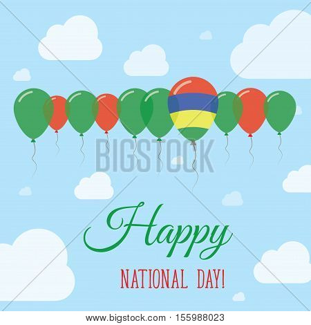Mauritius National Day Flat Patriotic Poster. Row Of Balloons In Colors Of The Mauritian Flag. Happy