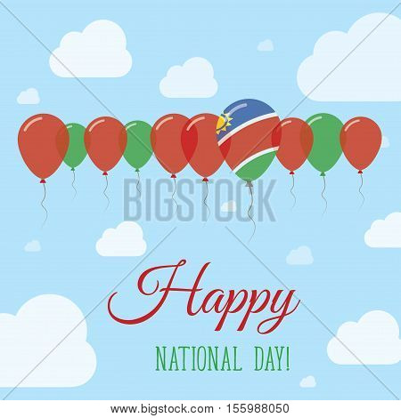 Namibia National Day Flat Patriotic Poster. Row Of Balloons In Colors Of The Namibian Flag. Happy Na