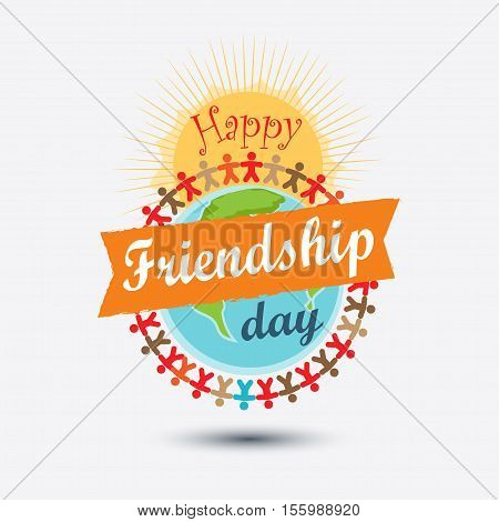 Happy Friendship day typographic colorful design. Usable as friendship day greeting cards posters. Vector illustration in flat style isolated from the background