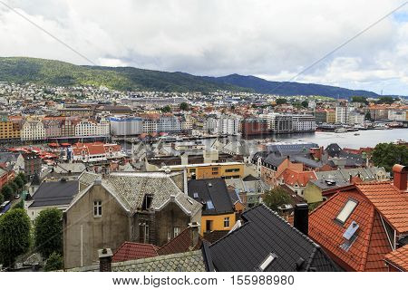 BERGEN, NORWAY - JULY 3, 2016: This is aerial view on the roofs of the old town and old Bergen haven.
