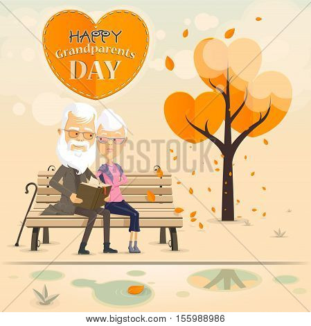 Grandfather and grandmother read a book on a bench in autumn park Happy Grandparents day Vector illustration in flat cartoon style isolated from the background