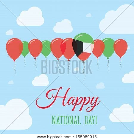 Kuwait National Day Flat Patriotic Poster. Row Of Balloons In Colors Of The Kuwaiti Flag. Happy Nati