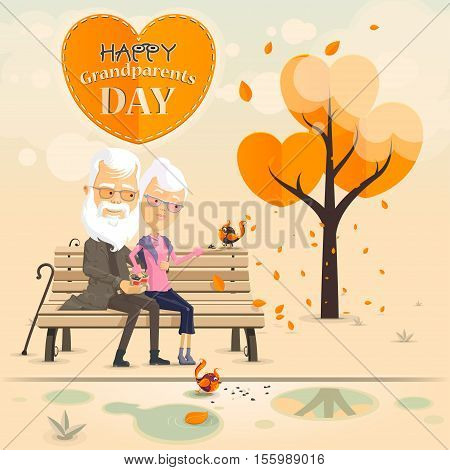 Grandparents feed the birds on the bench in autumn park Happy Grandparents day Vector illustration in flat cartoon style isolated from the background