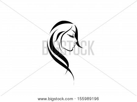 sketch profile face beautiful young woman with long black hair icon logo beauty spa salon