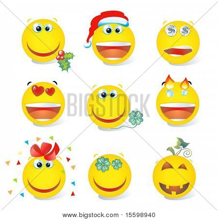 set of holiday`s  smiley holiday
