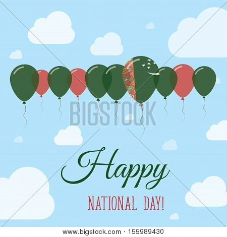 Turkmenistan National Day Flat Patriotic Poster. Row Of Balloons In Colors Of The Turkmen Flag. Happ