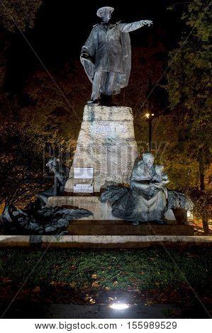 Vasarhelyi Pal Statue at Night in Szeged, Hungary
