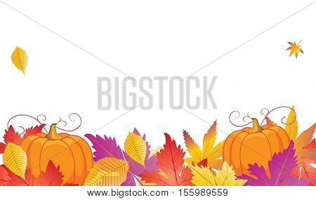 Thanksgiving Day decorative frame with fall leafs and pumpkin. Thanksgiving background. Thanksgiving Day card template. Thanksgiving banner with Autumn leaves and pumpkin. Fall leafs border. Vector illustration.