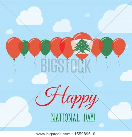 Lebanon National Day Flat Patriotic Poster. Row Of Balloons In Colors Of The Lebanese Flag. Happy Na