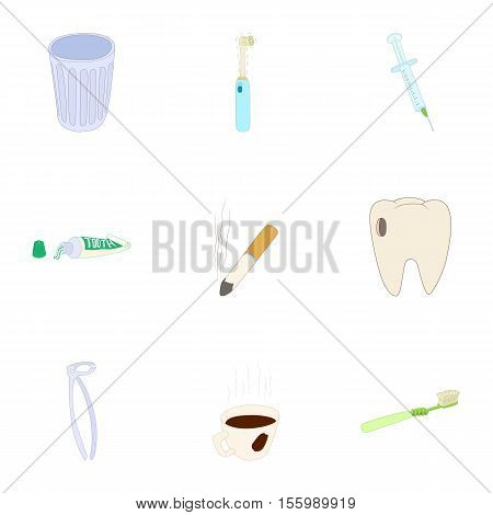 Toothache icons set. Cartoon illustration of 9 toothache vector icons for web