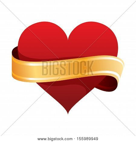 heart and ribbon Valentines day vector illustration eps 10