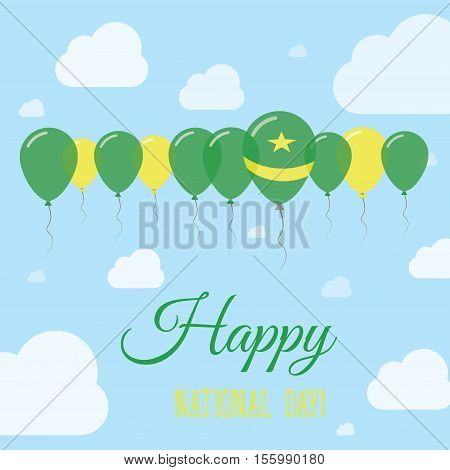 Mauritania National Day Flat Patriotic Poster. Row Of Balloons In Colors Of The Mauritanian Flag. Ha
