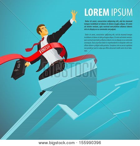 Happy businessman crosses the finish line at the top of pointer. Man achieves excellent results. Vector illustration in flat cartoon style isolated from the background
