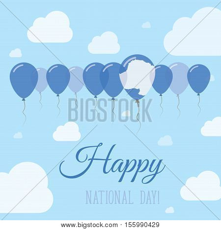 Antarctica National Day Flat Patriotic Poster. Row Of Balloons In Colors Of The Antarctica Flag. Hap