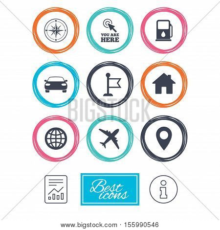 Navigation, gps icons. Windrose, compass and map pointer signs. Car, airplane and flag symbols. Report document, information icons. Vector