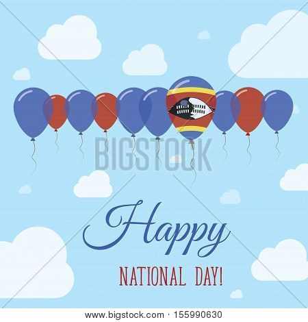 Swaziland National Day Flat Patriotic Poster. Row Of Balloons In Colors Of The Swazi Flag. Happy Nat