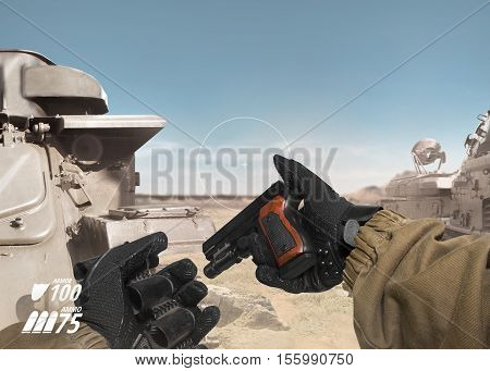 First person view soldier hand in black battle gloves & tactical jacket holding reloded gun & cartridge belt on desert tank war scene with health & armor indicator.