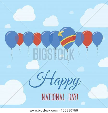 Congo, The Democratic Republic Of The National Day Flat Patriotic Poster. Row Of Balloons In Colors