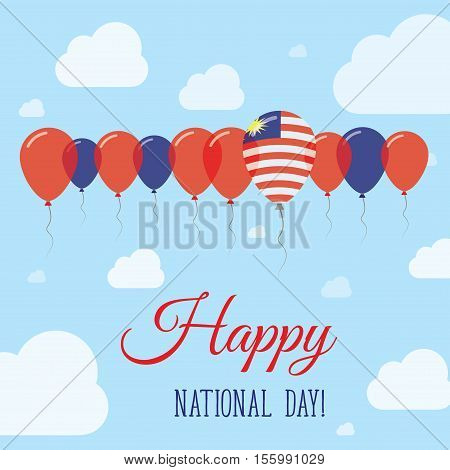 Malaysia National Day Flat Patriotic Poster. Row Of Balloons In Colors Of The Malaysian Flag. Happy