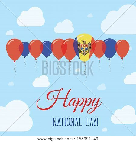 Moldova, Republic Of National Day Flat Patriotic Poster. Row Of Balloons In Colors Of The Moldovan F