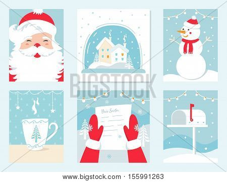 Christmas and Winter Holidays Vector Mini Cards. Santa Claus, Snow Globe, Snowman, Letter to Santa and Mailbox.