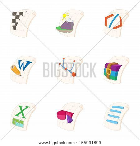 Files icons set. Cartoon illustration of 9 files vector icons for web