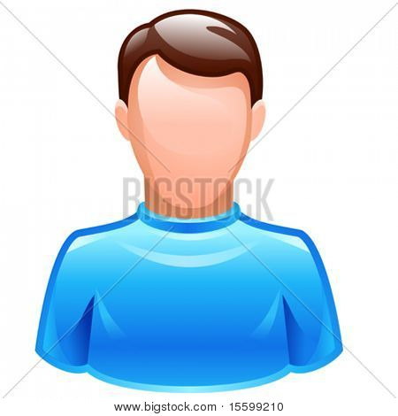 vector user icon of male wearing blue t-shirt